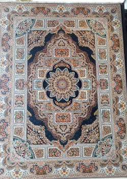 خرید فرش 1200 شانه طرح حوض نقره زمینه سرمه ای از کارخانه فرش کاشان