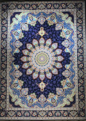 فرش ۱۲۰۰ شانه طرح آذرخش زمینه سرمه ای