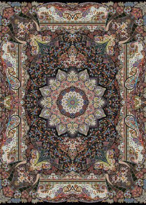فرش ۱۰۰۰ شانه طرح فاخر زمینه سرمه ای