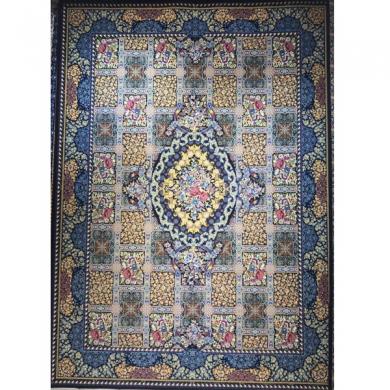 فرش ۱۲۰۰ شانه طرح ماریا زمینه سرمه ای