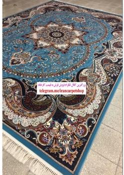 فرش ماشینی ۷۰۰ شانه طرح چیچک زمینه آبی - فرش ماشینی کاشان