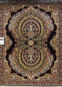 فرش ۱۰۰۰ شانه زمینه سرمه ای - فرش ماشینی
