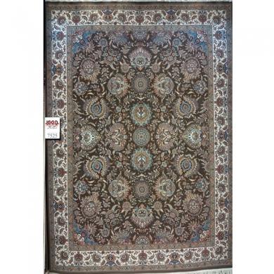 فرش ۷۰۰ شانه بزرگمهر زمینه سرمه ای - فرش کاشان