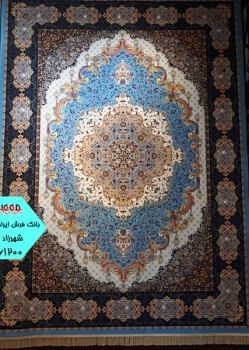 فرش 1200 شانه طرح شهرزاد زمینه آبی