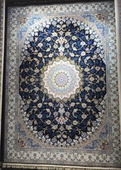 فرش 1200 شانه طرح اصفهان زمینه سرمه ای