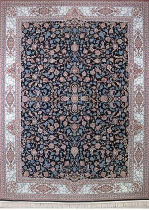 فرش افشان زمینه کاربنی حاشیه نقره ای