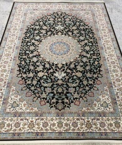 فرش 1200 شانه طرح اصفهان زمینه قهوه ای