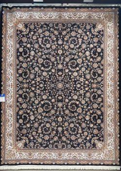فرش طرح افشان زمینه سرمه ای بزرگمهر کاشان کد 7504