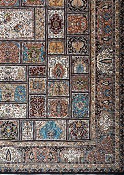 حاشیه فرش طرح خشتی شکارگاه بزرگمهر کاشان - کد 7726