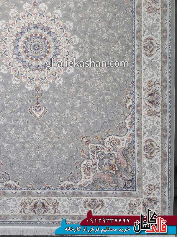 حاشیه فرش 1500 شانه طرح باران زمینه سیلور محتشم کاشان - گل برجسته