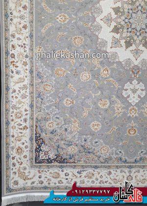 حاشیه فرش 1500 شانه طرح گل گشت زمینه سیلور محتشم کاشان - گل برجسته