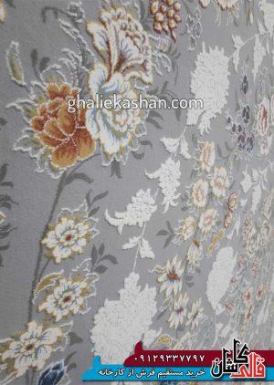 زمینه فرش 1500 شانه طرح باغ جان زمینه سیلور محتشم کاشان - گل برجسته - 3