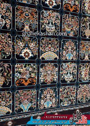 زمینه فرش 700 شانه طرح خشتی گلدانی زمینه سرمه ای بزرگمهر کاشان - کد 7847