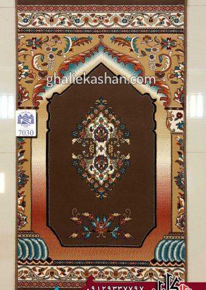 فرش سجاده ای 700 شانه زمینه گردویی بزرگمهر کاشان - کد 7030