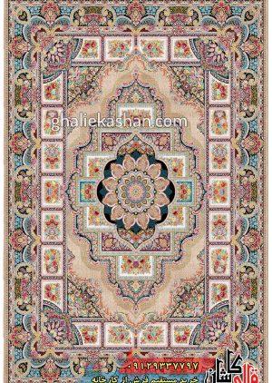 فرش-1200-شانه-طرح-حوض-نقره-زمینه-بادامی-محتشم-کاشان
