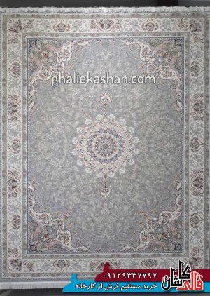 فرش 1500 شانه طرح باران زمینه سیلور محتشم کاشان - گل برجسته