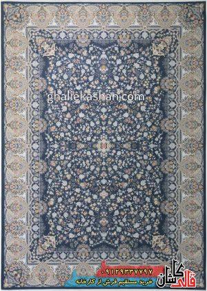 فرش-1500-شانه-طرح-باغ-جان-زمینه-اطلسی-محتشم-کاشان-گل-برجسته