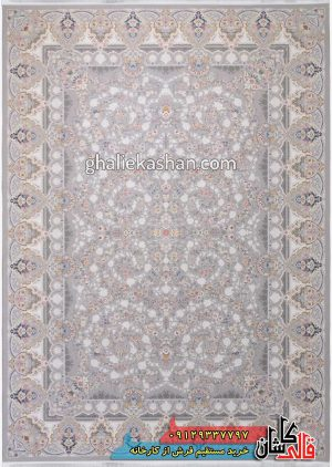 فرش-1500-شانه-طرح-باغ-جان-زمینه-سیلور-محتشم-کاشان-گل-برجسته.