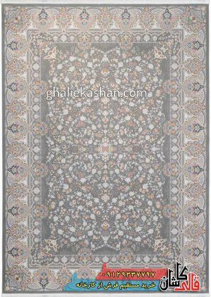 فرش-1500-شانه-طرح-باغ-جان-زمینه-متالیک-محتشم-کاشان-گل-برجسته