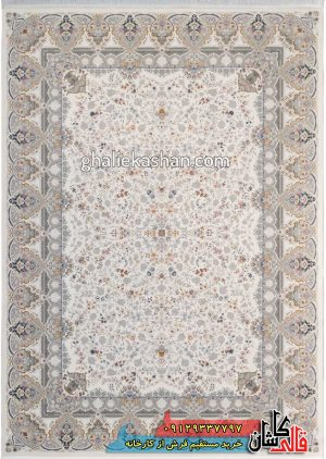 فرش-1500-شانه-طرح-باغ-جان-زمینه-کرم-محتشم-کاشان-گل-برجسته