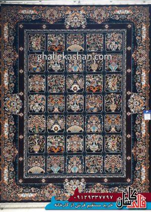 فرش-700-شانه-طرح-خشتی-گلدانی-زمینه-سرمه-ای-بزرگمهر-کاشان---کد-7847