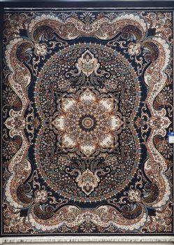 فرش 700 شانه طرح چیچک زمینه سرمه ای بزرگمهر کاشان - کد 7793