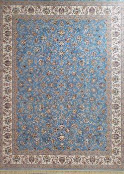 فرش طرح افشان زمینه آبی نیاوران کاشان - 1200 شانه - کد 3606