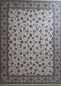 فرش طرح افشان زمینه کرم حاشیه کرم نیاوران کاشان - 1200 شانه - کد 3606