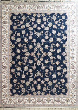 فرش طرح افشان زمینه سرمه ای نیاوران کاشان - 1200 شانه - کد 3606