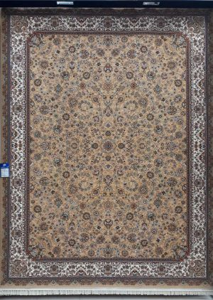 فرش 700 شانه طرح افشان زمینه بژ بزرگمهر کاشان - کد 7804