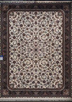 فرش 700 شانه طرح افشان زمینه کرم بزرگمهر کاشان - کد 7804