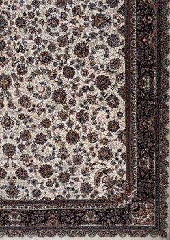 حاشیه فرش 700 شانه طرح افشان زمینه کرم بزرگمهر کاشان - کد 7804