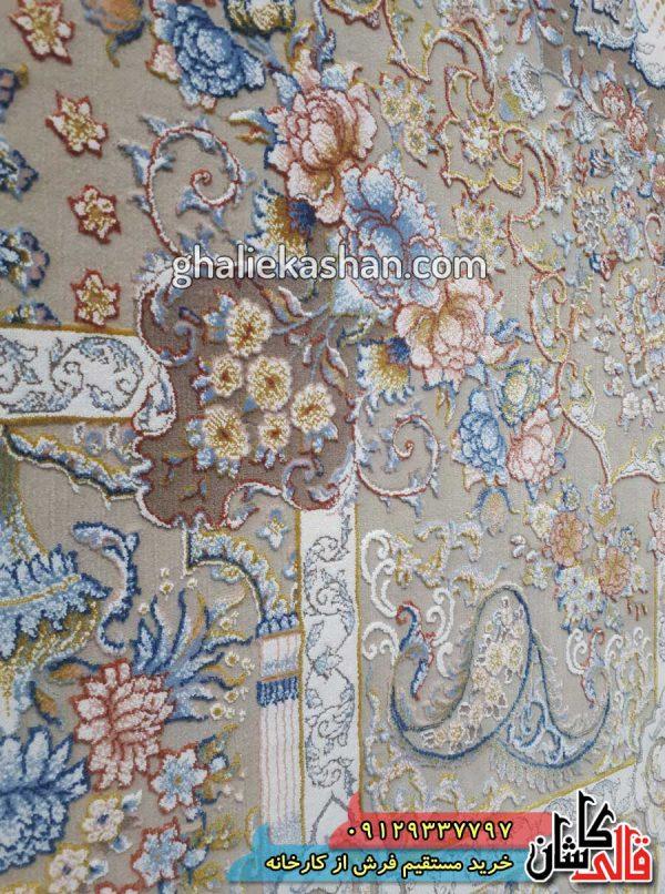 بافت فرش-طرح-مرجان-زمینه-دلفینی-محتشم-کاشان-گل-برجسته