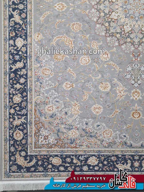 حاشیه-فرش-1500-شانه-طرح-گل-گشت-زمینه-متالیک-محتشم-کاشان---گل-برجسته