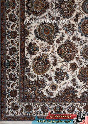 حاشیه فرش 700 شانه طرح افشان باغ بهشت زمینه کرم بزرگمهر کاشان - کد 7525
