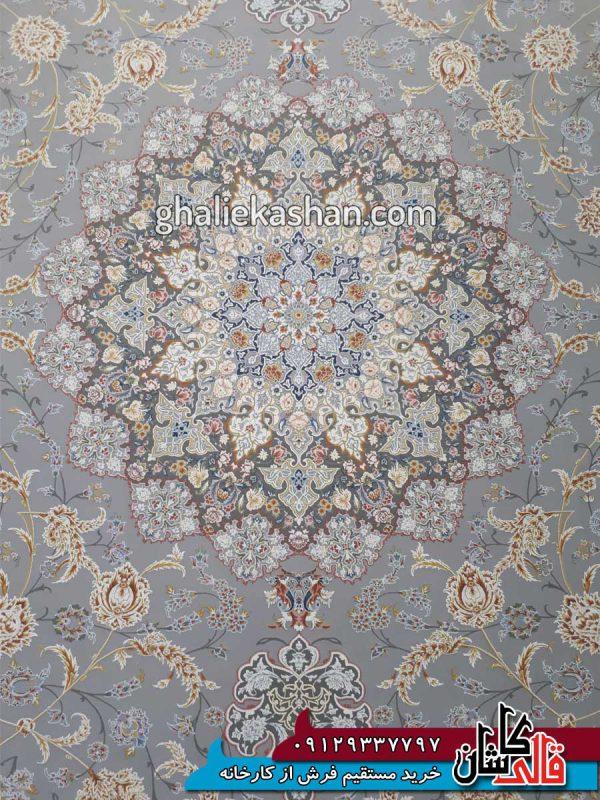 زمینه-فرش-1500-شانه-طرح-گل-گشت-زمینه-متالیک-محتشم-کاشان---گل-برجسته