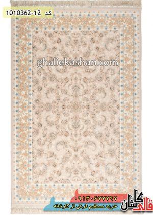 فرش-1200-شانه-طرح-بهنوش-زمینه-فیلی-موزی-محتشم-کاشان---گل-برجسته