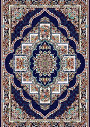 فرش-700-شانه-طرح-ناردون-زمینه-سرمه ای عقیق کاشان